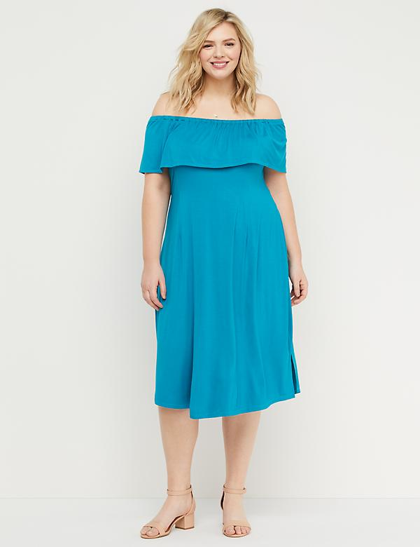 Off-the-Shoulder Flounce Midi Dress