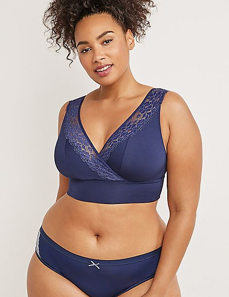 Faux-Wrap Bralette with Lace