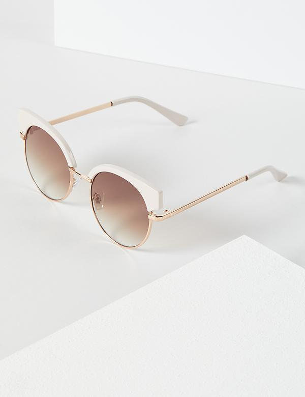Pink Enamel Metal Cateye Sunglasses