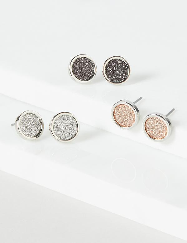 Stud Earrings 3-Pack - Druzy