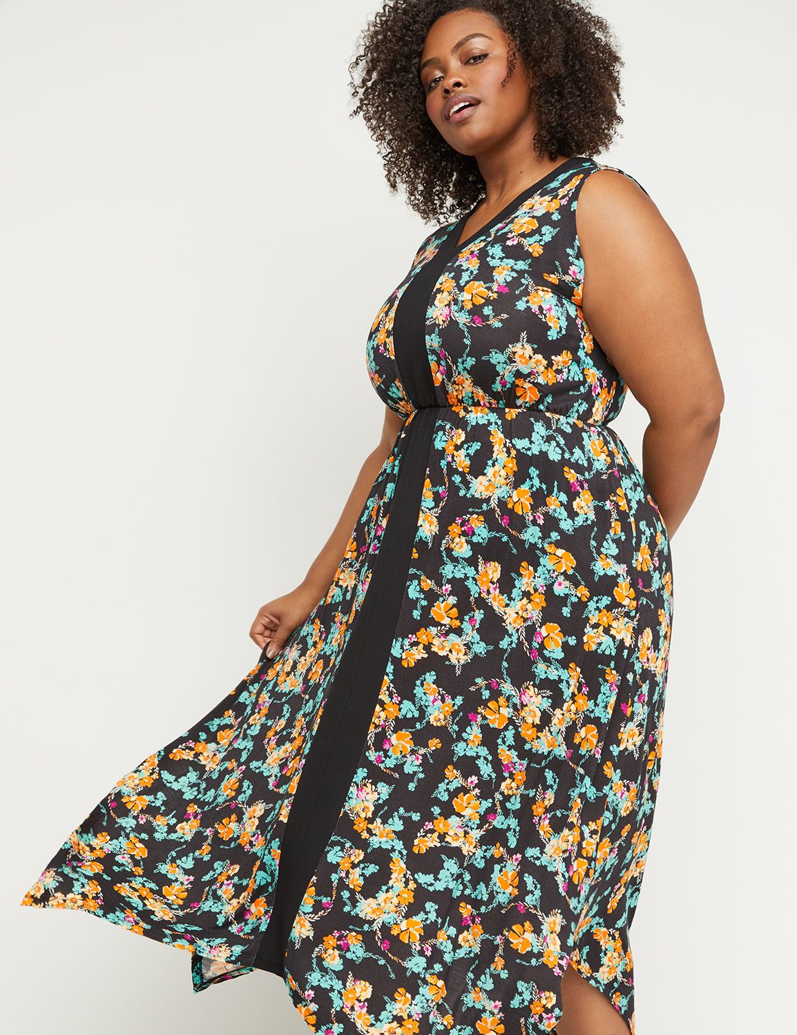 Petite Floral Handkerchief Hem Maxi Dress