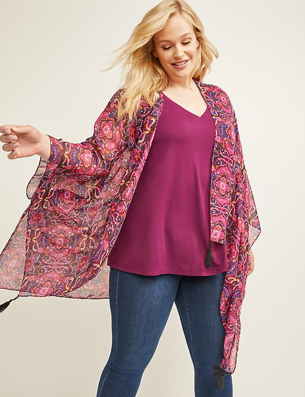 Printed Kimono with Tassels
