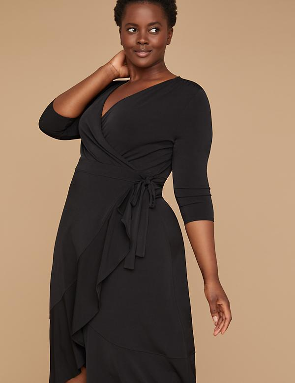 ced39a01a0 3 4 Sleeve Matte Jersey Wrap Dress - Black
