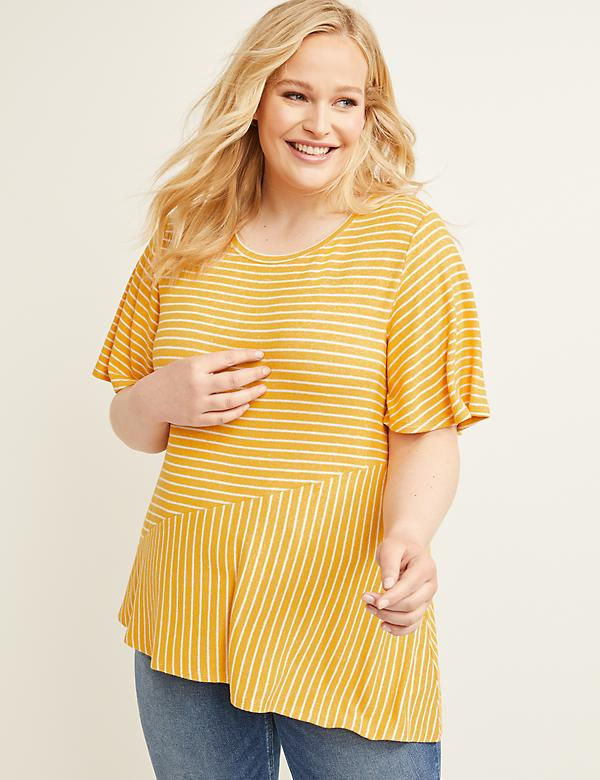 Softest Touch Striped Asymmetrical Top