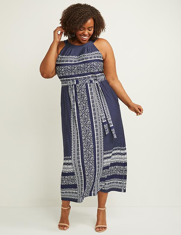 Printed Fit & Flare Maxi Dress