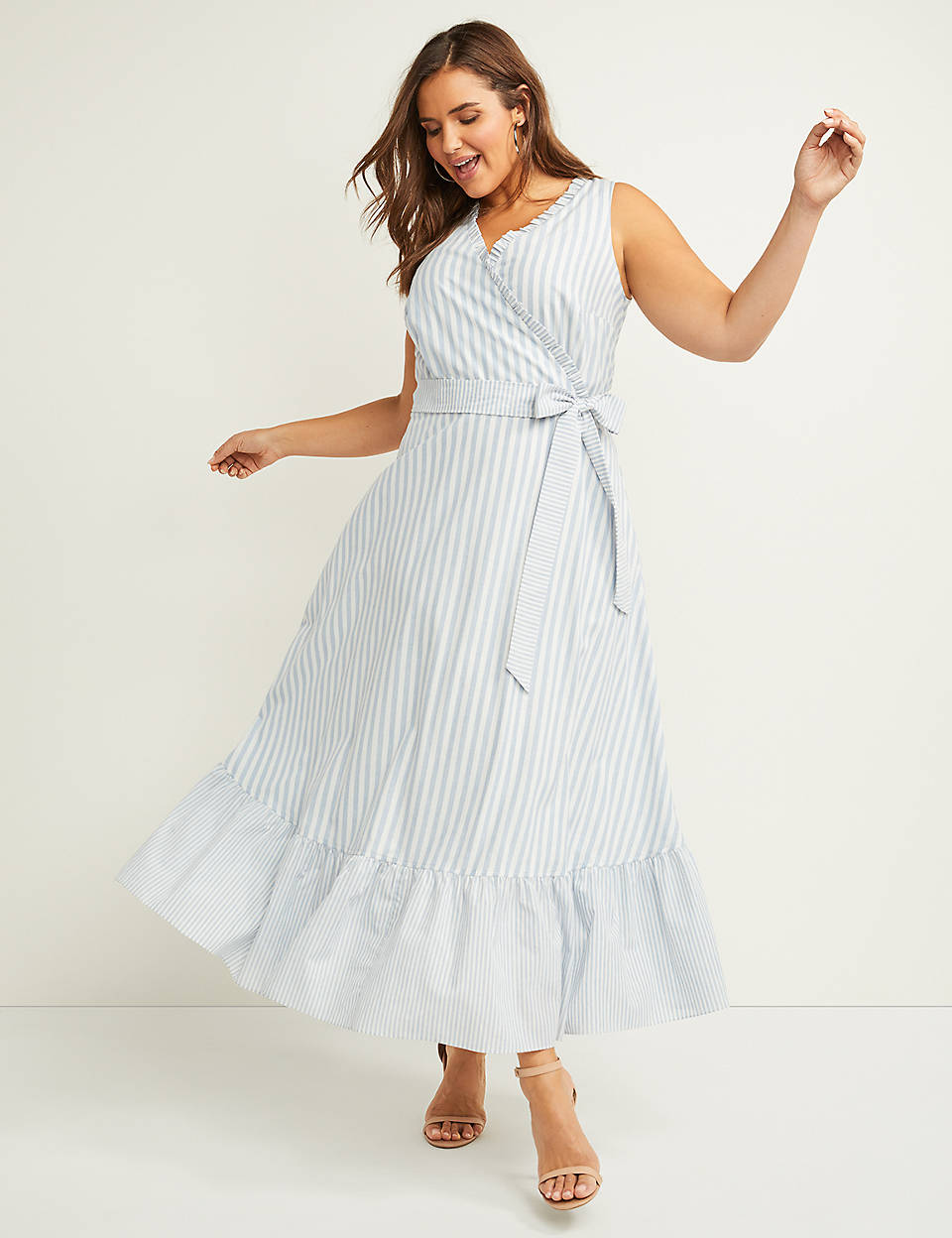 f1b5903bf0df Striped Fit & Flare Maxi Dress with Ruffles | Lane Bryant