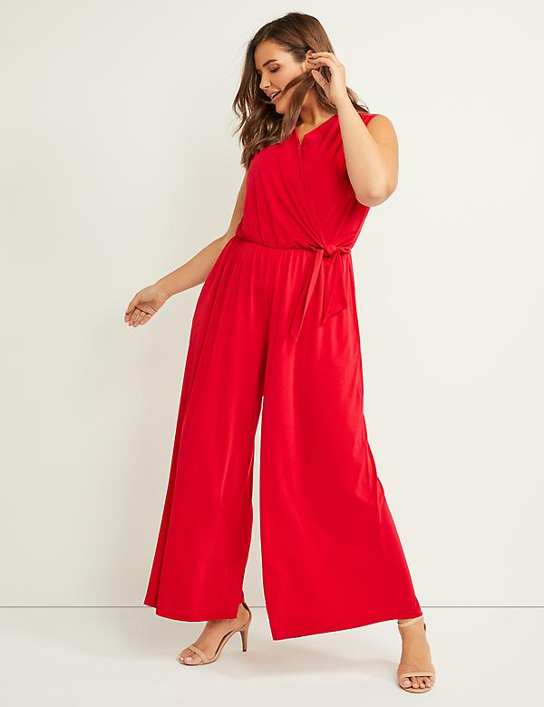 Faux-Wrap Crepe Jumpsuit