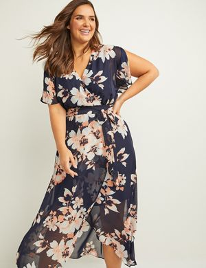 9fc74815244c A floral fit & flare maxi dress in lightweight woven chiffon fabric with a  faux-wrap silhouette. V-neck. Short flutter sleeves with slits.