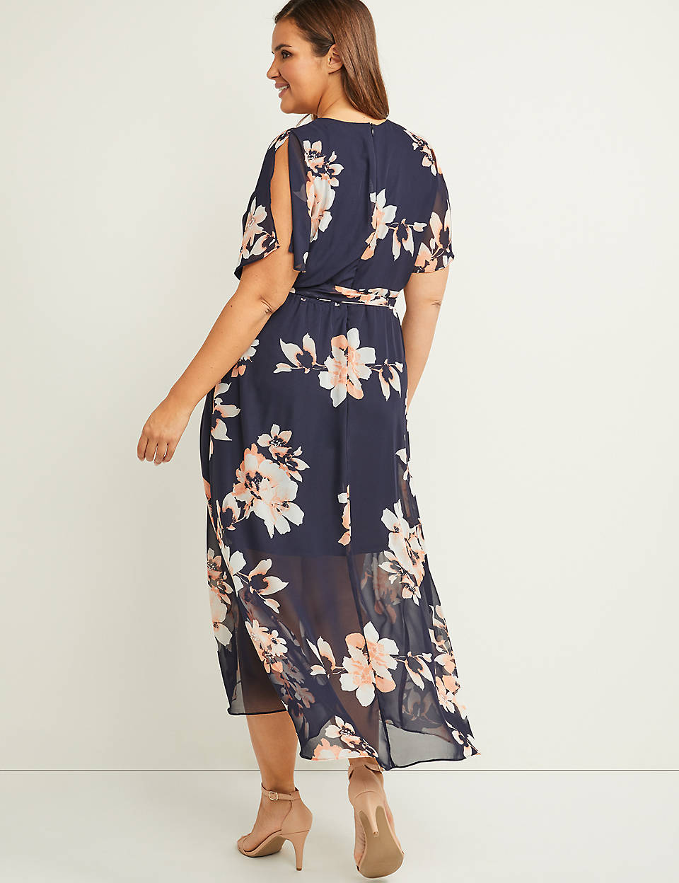 b2fa4eea431d Faux-Wrap Fit & Flare High-Low Maxi Dress | Lane Bryant