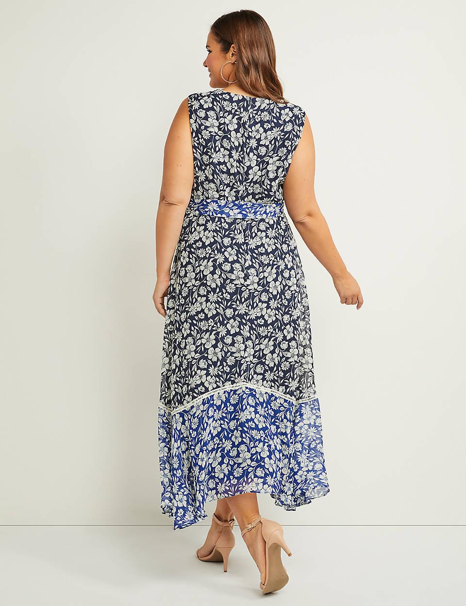 cc74f0757d22 Floral Faux-Wrap Fit & Flare Maxi Dress   Lane Bryant