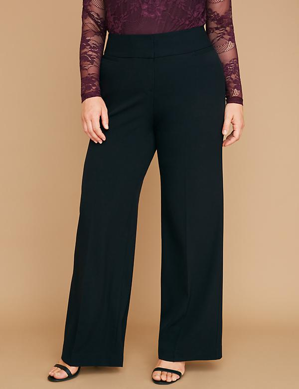 7a806f932759f Plus Size Wide Leg Pants. Allie Tailored Stretch Wide Leg Pant