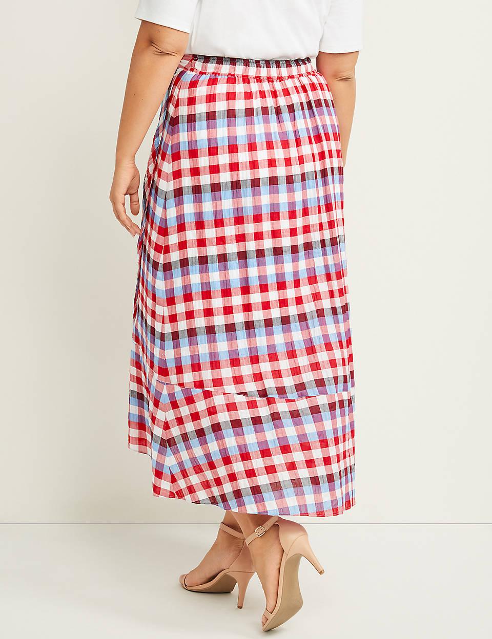 8041da3cd1 Checkered A-Line Faux-Wrap Skirt | Lane Bryant