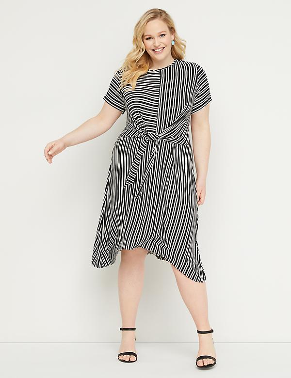 0536e8660f1 Striped Tie-Waist Fit & Flare Dress