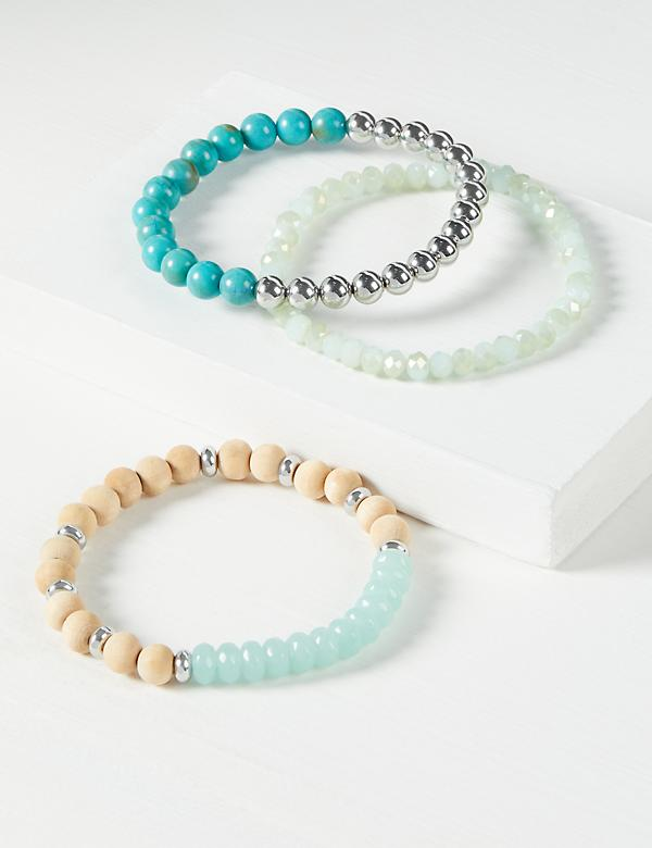 3-Row Beaded Stretch Bracelet Set