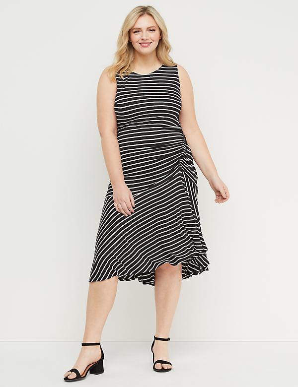 Striped Side-Ruched Midi Dress