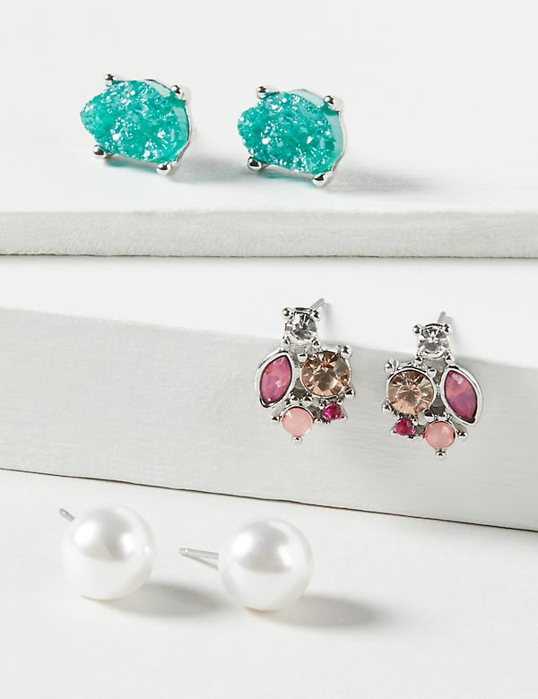Stud Earrings 3-Pack - Faux Pearl, Druzy & Faceted Stones