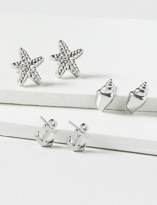 Stud Earrings 3-Pack - Anchor, Starfish & Seashell
