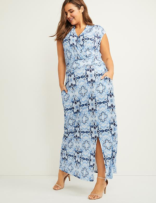 Paisley Faux-Wrap Maxi Dress