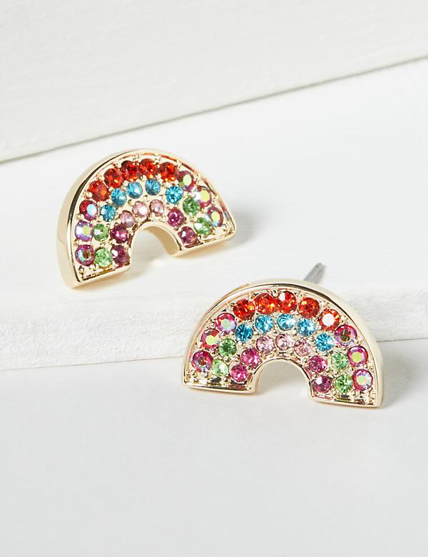 Pave Rainbow Stud Earrings
