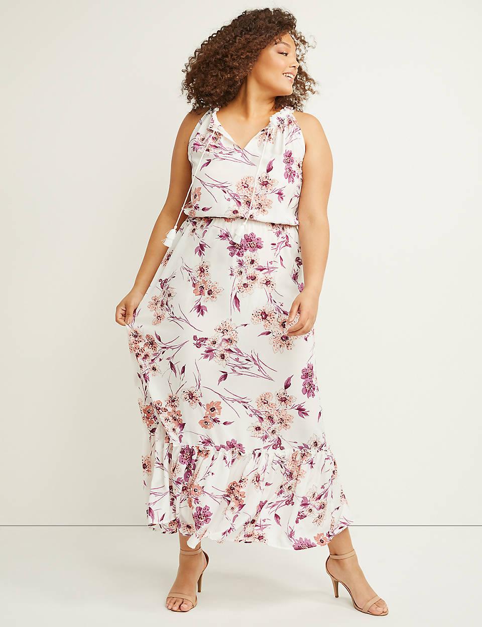 2795899247b Ruffle Chiffon Fit   Flare Maxi Dress
