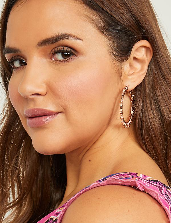 Embellished Metal Hoop Earrings