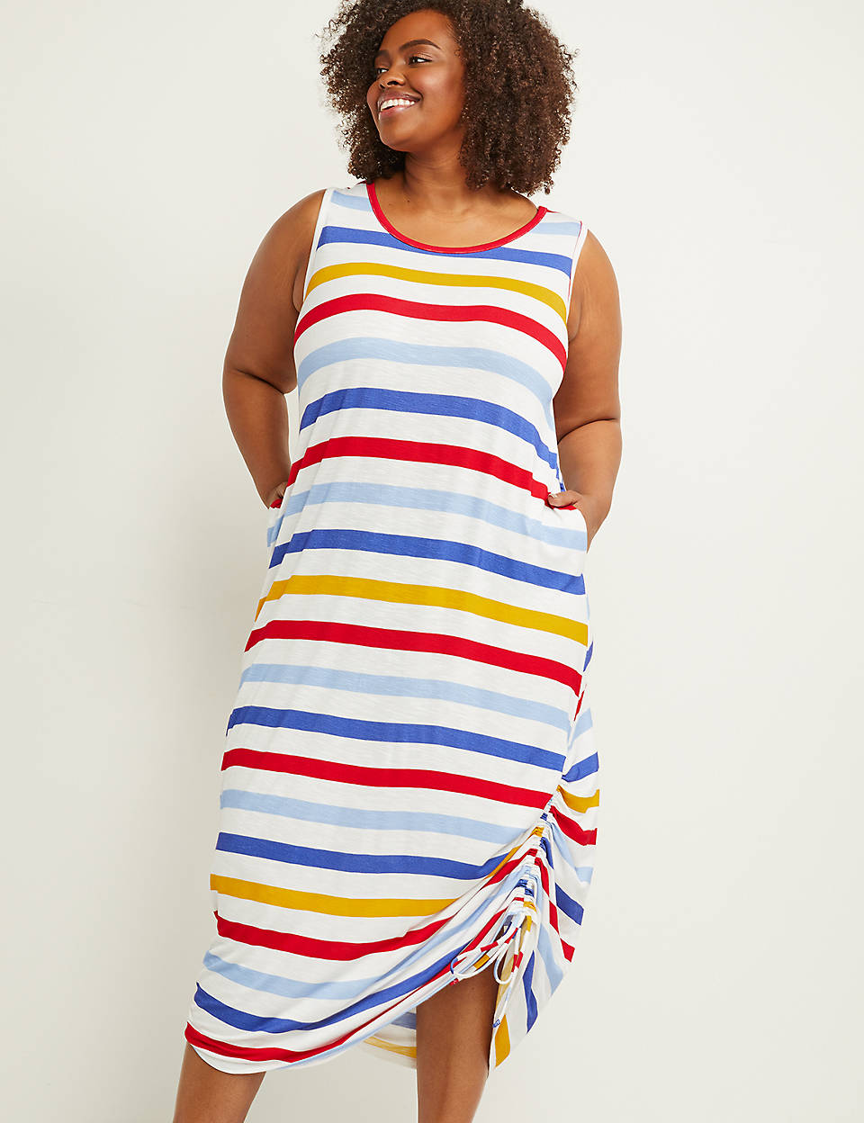 e37346eb5c Printed Midi Dress with Ruched Drawstring