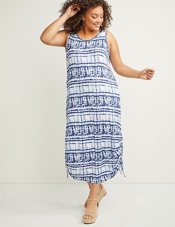 Printed Midi Dress with Ruched Drawstring