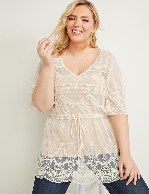 Embroidered Mesh Top - Tie Waist