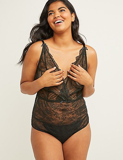 Lace Body Suit with Split Gusset