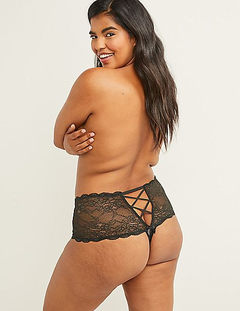 Lace Wide-Side Thong Panty with Split Gusset