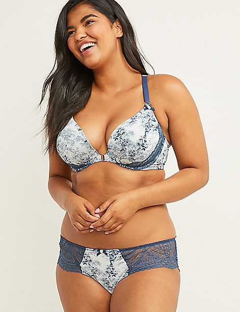 Floral Strappy Back Hipster Panty with Lace