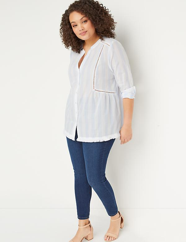 Striped Ladder-Stitch Top