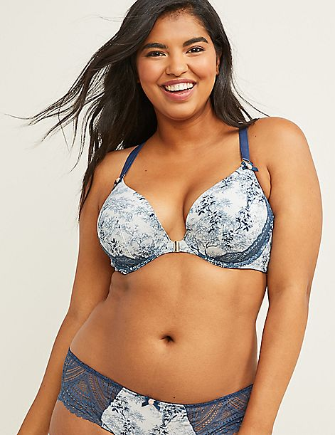 Floral Front-Close Boost Plunge Bra with Lace