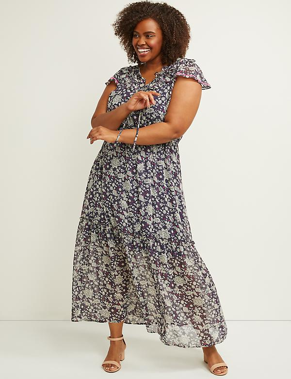 9d58b4e71fd Floral Chiffon Fit   Flare Maxi Dress
