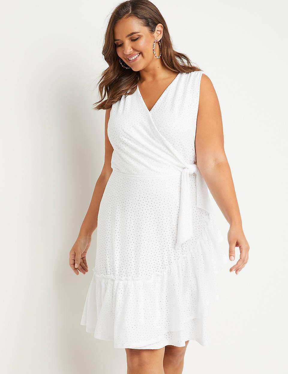 d6316d33970 Eyelet Faux-Wrap Fit   Flare Dress