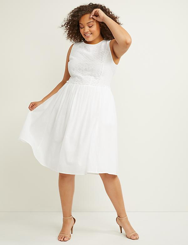 Eyelet Fit & Flare Dress with Smocking