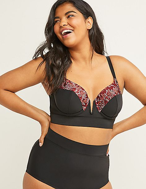 V-Wire Longline Swim Bikini Top with Balconette Bra