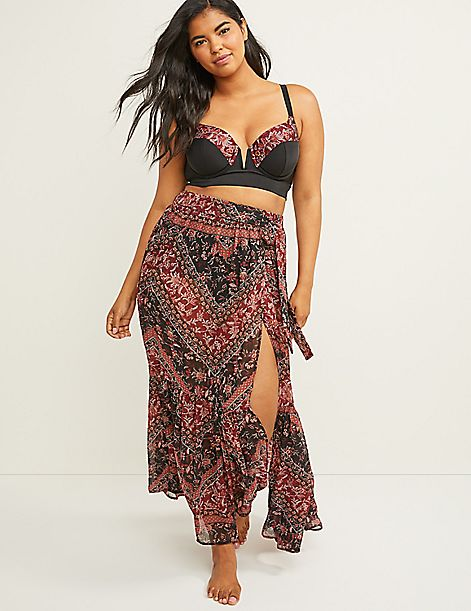 Printed Ruffle Cover-Up Skirt