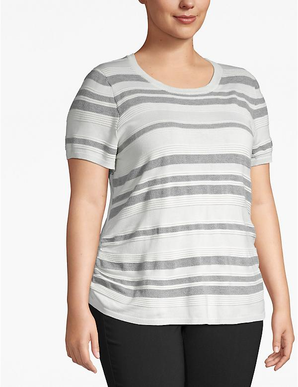 Textured Stripe Short-Sleeve Sweater