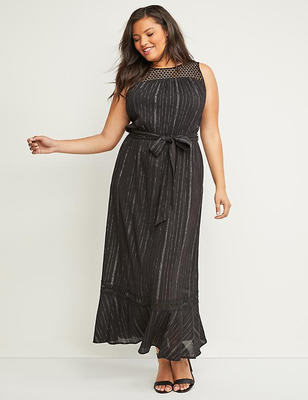 Shimmer Stripe Maxi Dress with Crochet Yoke