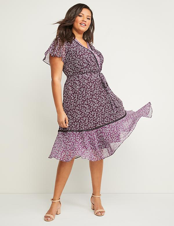 Faux-Wrap Floral Fit & Flare Dress