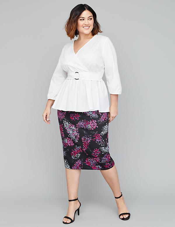 Printed Scuba Midi Pencil Skirt
