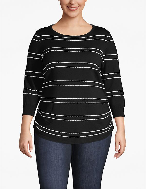 3/4-Sleeve Striped Ruched-Side Sweater