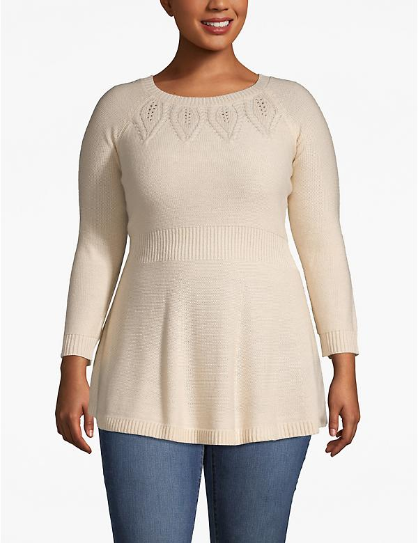Peplum Pointelle Tunic Sweater
