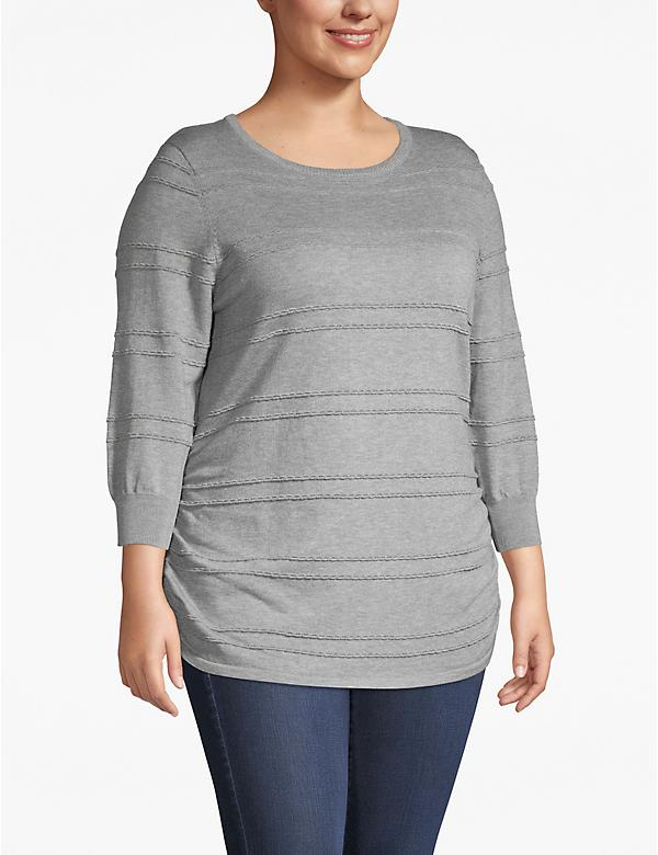 3/4-Sleeve Ruched-Side Sweater