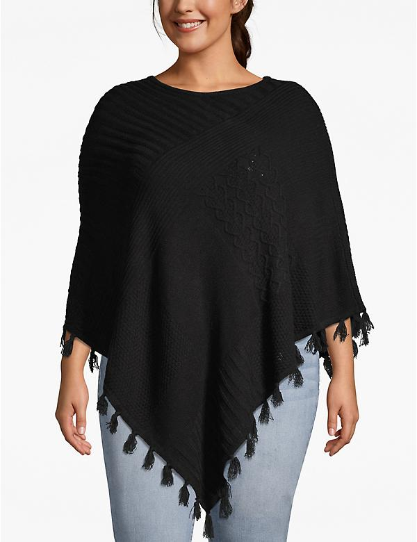 Textured Poncho with Fringe Trim
