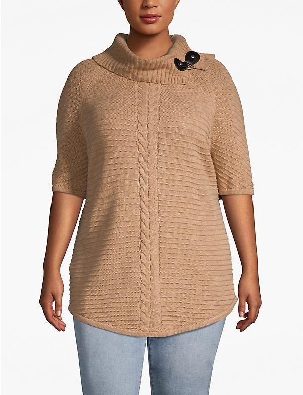 Toggle-Collar Sweater Tunic