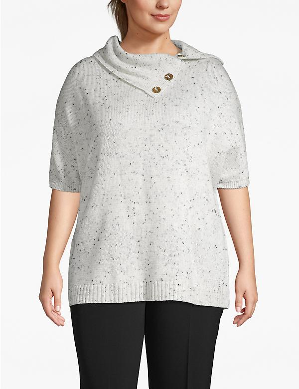 Dolman-Sleeve Poncho with Button Collar