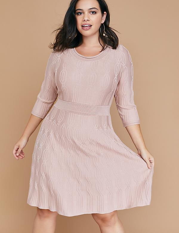 d83bae50bd1da 3 4 Sleeve Textured Fit   Flare Sweater Dress