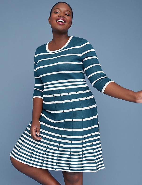 adcf7439486c6 3 4 Sleeve Striped Fit   Flare Sweater Dress